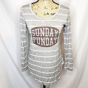 Free Kisses   Sunday Funday Football Striped Top